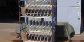 写真:アルミ鋳物製の軸流ファン用ランナー14基出荷風景